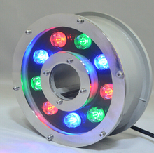 цена на Free shipping IP68 RGB/Green/White 9W LED fountain light LED pool light Led underwater light  24V  3 years warranty