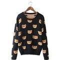 Корея пуловер lovely мультфильм медведь свитер пальто женщин 2017 осень зима новый мерсеризированный хлопок свитера одежда vestidos MMY132