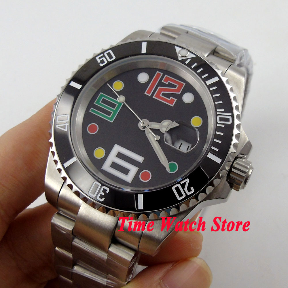 40mm black sterial dial date colorful marks saphire glass black Ceramic Bezel Automatic movement Men's watch BL56 цена и фото