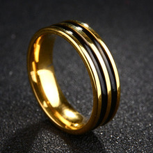 New style stainless steel stainless steel ring against black glaze personality couple ring