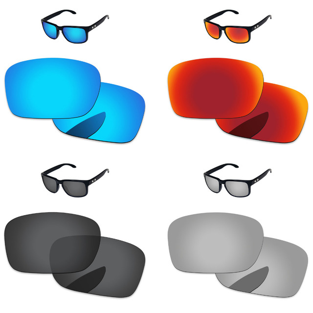 3ae0e1a8b1 Black   Silver   Blue   Red 4 Pairs Polarized Replacement Lenses For  Holbrook Sunglasses Frame 100% UVA   UVB Protection