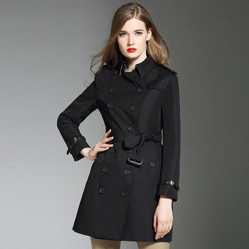 #3314 Brand Black Windbreaker Girls Elegant Temperament Lapel Collar Double Breasted Loose Trench Coat Women Adjustable Waist