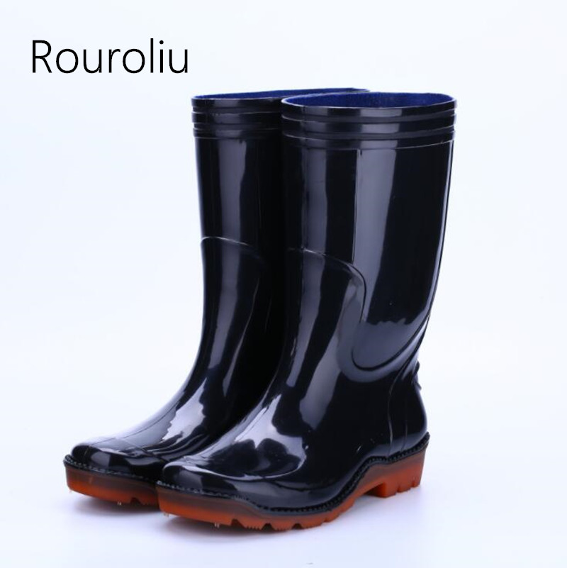 Rouroliu Men Winter Non-Slip Mid-Calf Warm Rain Boots PVC Waterproof Water Shoes Male Wellies Work Safety Shoes RT345