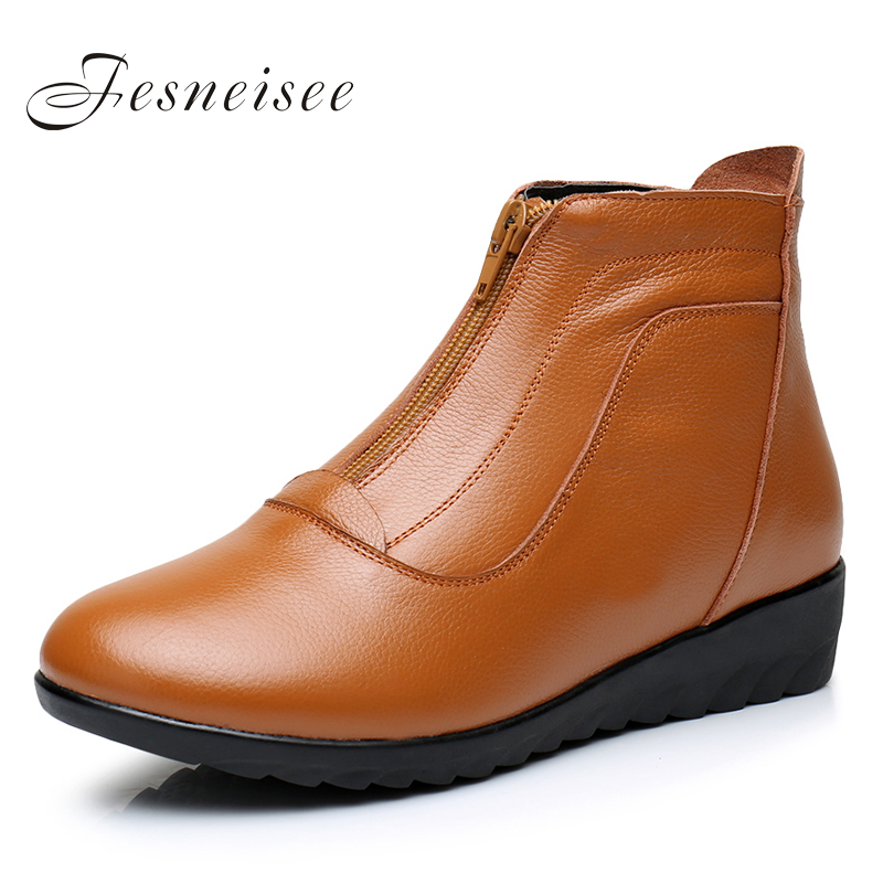 New Winter Women Boots Genuine Leather Flat Heel Women Single Shoes Womens Casual Boots Female Flats Boots Plus Size34-43 Q4.5