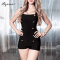 Bqueen 2017 new black sexy skinny shorts playsuits botões decorativos atadura macacões