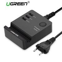 Ugreen 3 포트 전화 충전기 데스크탑 USB 충전기 휴대용 Tarvel EU 플러그 벽 충전기 어댑터 아이폰 6 모바일 노트북 충전