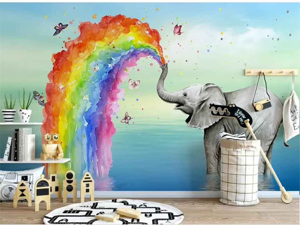 Ambitious Custom Size Mural Kids Room Wall 3d Photo Wallpaper Nordic Elephant Water Color 3d Picture Sofa Tv Background Wall 3d Wallpaper Do You Want To Buy Some Chinese Native Produce? Home Improvement Painting Supplies & Wall Treatments