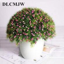 6pcs/lot Artificial plants green grass plastic plant Bonsai Potted fake flower Simulation Plant artificial flowers deco