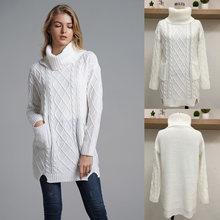 Женский свитер зимний однотонный Свободный теплый пуловер с
