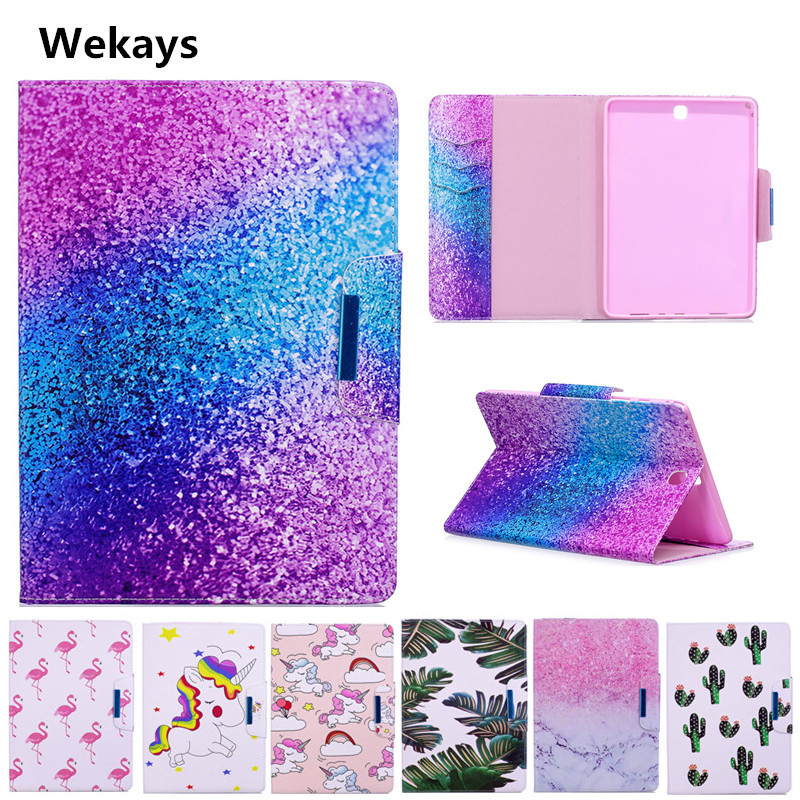 Wekays <font><b>Case</b></font> for <font><b>Samsung</b></font> <font><b>Galaxy</b></font> <font><b>Tab</b></font> A 9.7'' <font><b>SM</b></font>- <font><b>T550</b></font> T555 Cute Cartoon Flamingo Unicorn PU Flip Leather <font><b>Cover</b></font> <font><b>Case</b></font> Fundas Capa image
