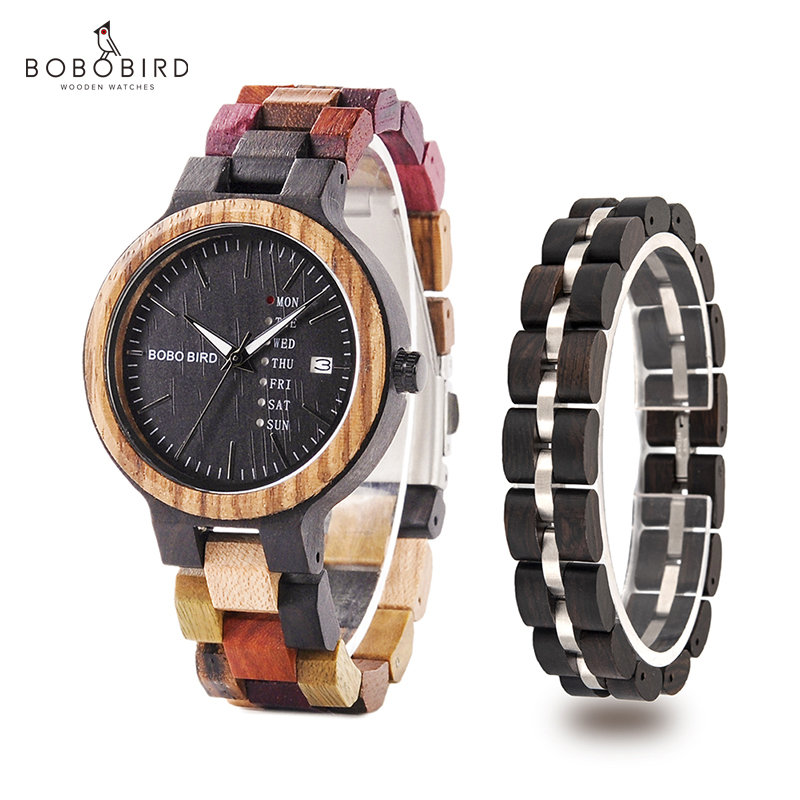 Montre Femme BOBO BIRD Wooden Women Watches Bracelet Set High Quality Japan Movement Quartz Watch In Wood Box Reloj Mujer