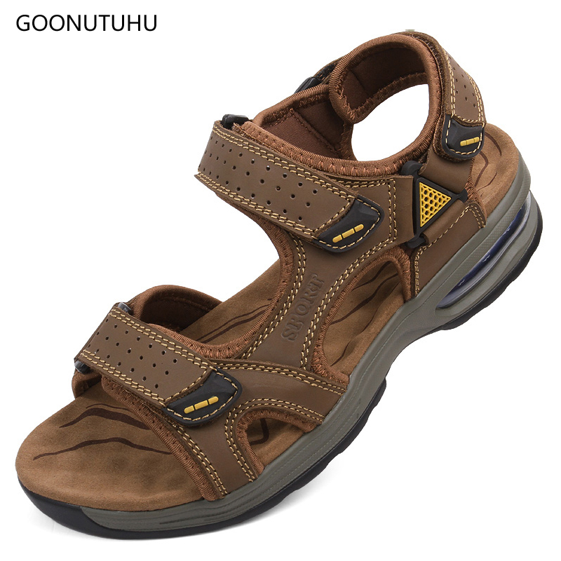 2018 new style men's sandals genuine leather summer platform breathable shoes man young fashion casual beach sandals for men