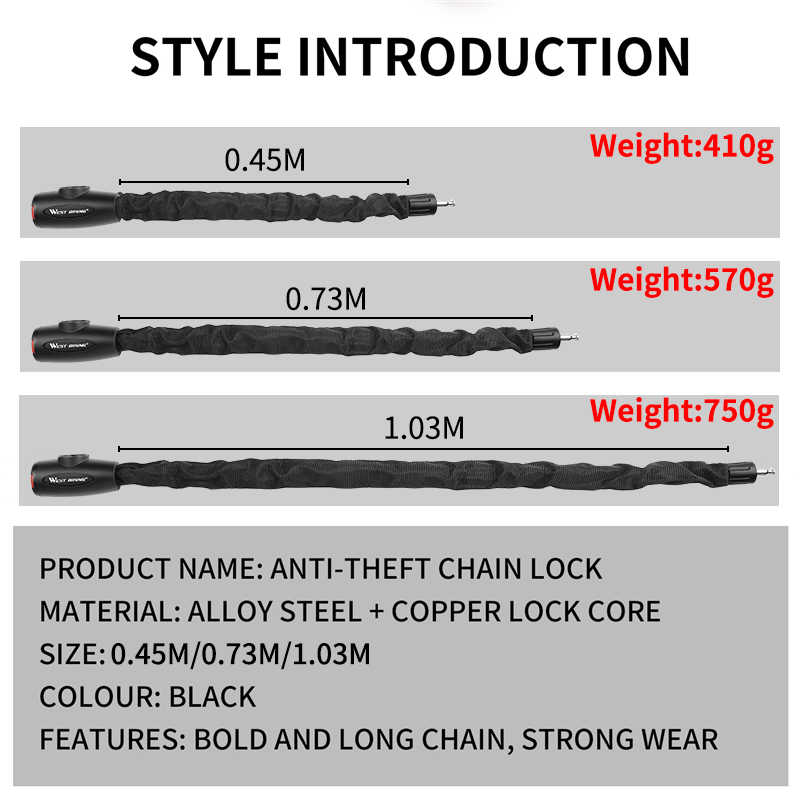 WEST BIKING Bicycle Lock Steel Anti-Theft Bike Chain Lock Security Reinforced Cycling Chain Lock Motorcycle Bicycle Accessories