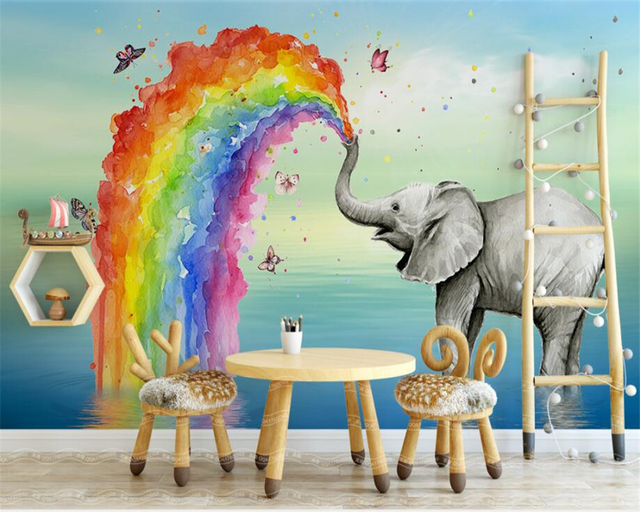 Beibehang Custom Wallpaper Home Decorative Murals HD Kids Room Giraffe Sun  Rainbow Background Wall Mural Photo