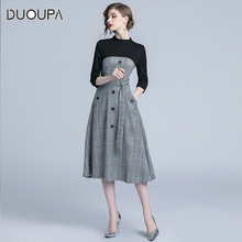 2019 European and American Women New Winter Round Neck Sleeve Waist Lace Put on a Large Single-breasted A-line Temperament dress 2019 autumn and winter new european and american women s round neck long sleeved printed lace slim a line dress