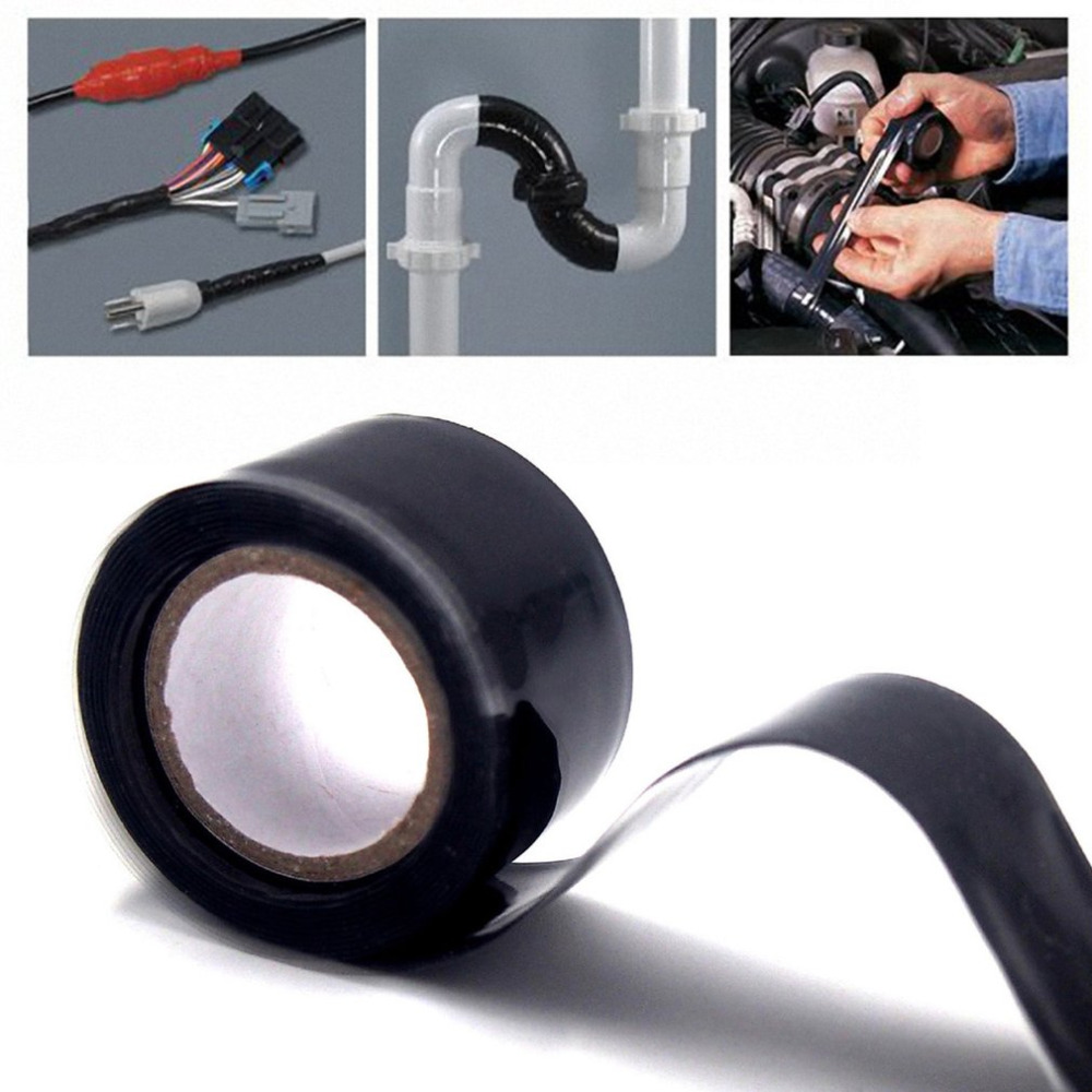 3m 1.5m Black Silicone Tape Waterproof Repair Bonding Sealing Tapes Rescue Self Adhesive Fusing Wire Tools Hose Pipe Useful 10m super strong waterproof self adhesive double sided foam tape for car trim scotch