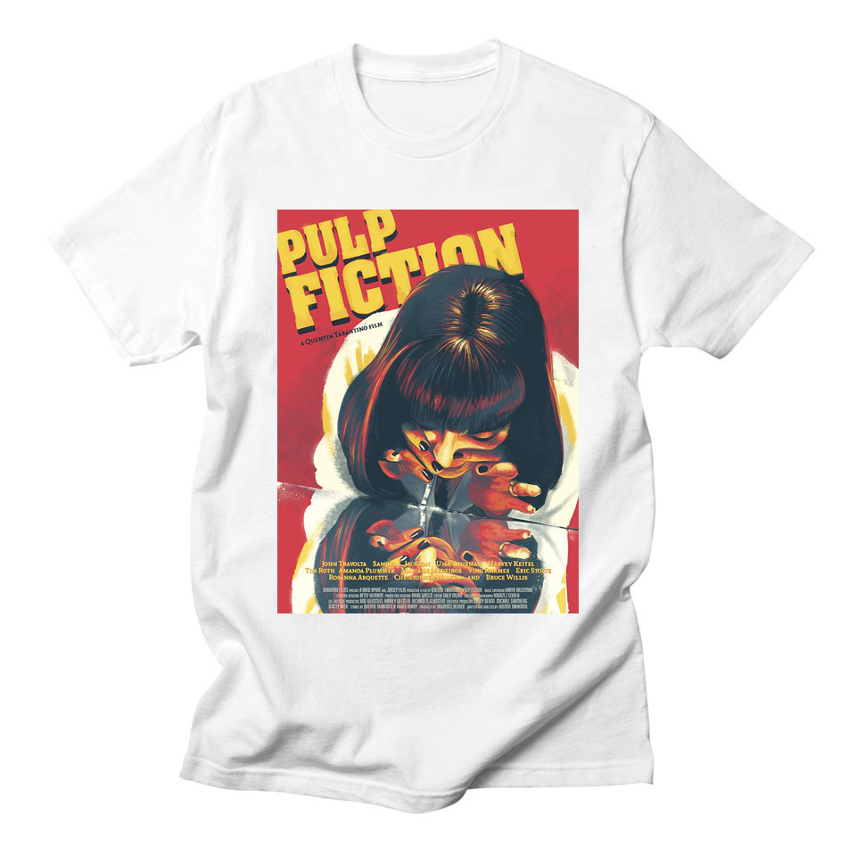 Movie Mia Wallace Pulp Fiction   T     shirt   Men Fashion Summer Quentin Tarantino Harajuku Woman Tees   Shirt   Short Sleeve