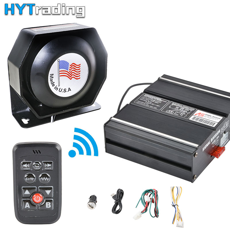 Super Loud 200W For Car Auto Truck Police Fire Siren 8 Tone Alarm Warning Speaker Black Shell DC 12V Multi-tones Horn