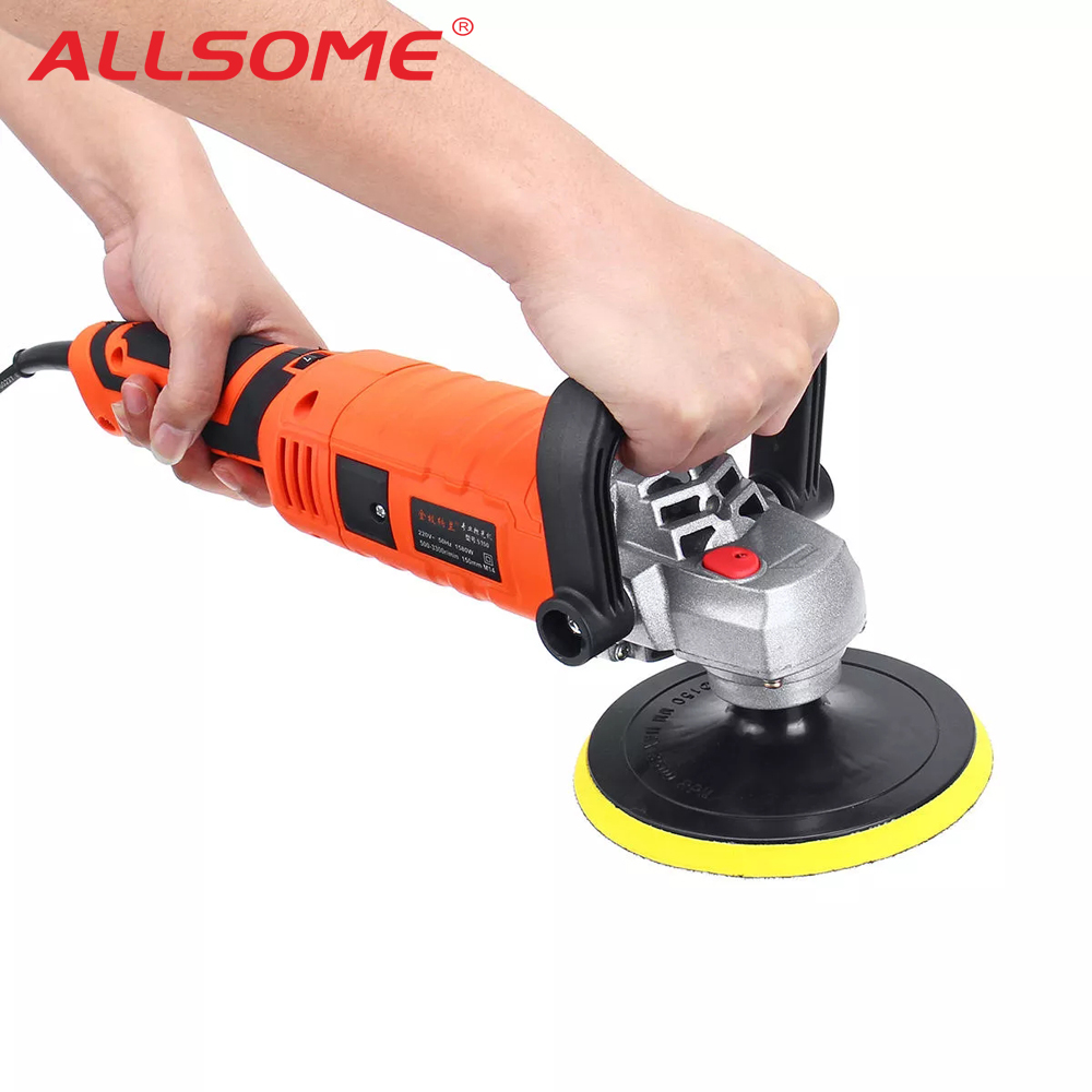 ALLSOME 1580W 220V Car Electric Polisher Waxing Machine Automobile Furniture Polishing Tool 7 Variable Speed HT2673