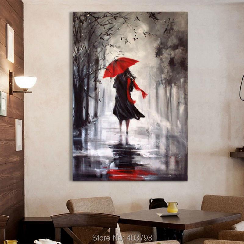 2a57cf5976 Dia Rainning paisagem abstrata moderna da pintura a óleo 100% pintado à mão  pintura a óleo sobre tela para decoração de casa