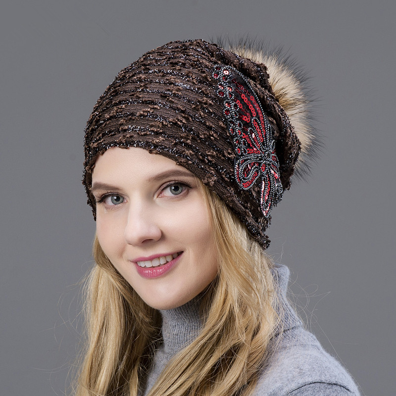 Free Shipping Spring Warm Autumn Summer Hot Selling Fur Ball Knitted Fur Hats Butterfly Shap Hollow Style Beautiful Woman Hat