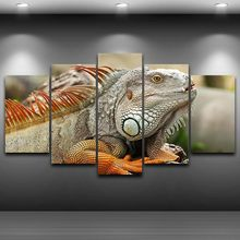 Canvas Wall Art Pictures Framework Home Decor Living Room 5 Pieces Majestic Chameleon Lizard Paintings HD Printed Animal Poster(China)