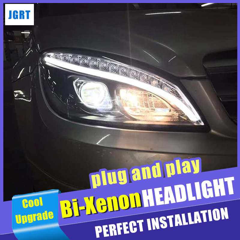 New Head Lights Car Styling For Benz C Class W204 Headlights 2007 2011 Double Beam Lens