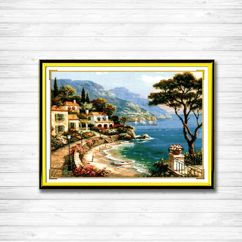 Harbor Of Love Sea Scenic beach paintings Counted print on fabric DMC 14CT 11CT DMS Cross Stitch Needlework kits Embroidery Sets