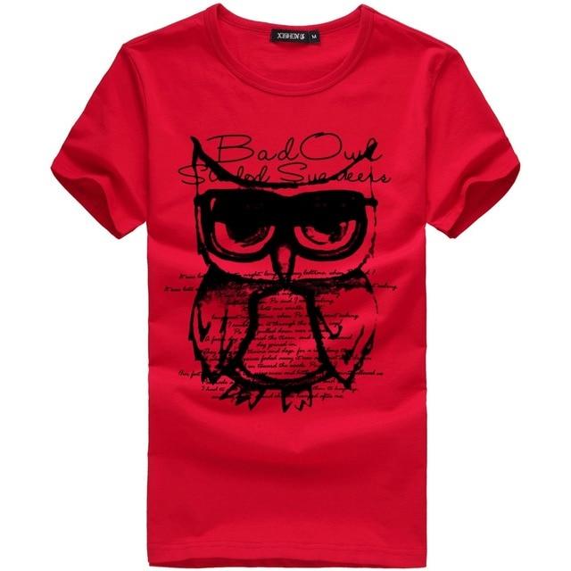 Męska koszulka homme 5XL moda sowa Cartoon drukuj zabawna koszulka męskie letnie na co dzień marki z krótkim rękawem bawełniane t koszula mężczyzn