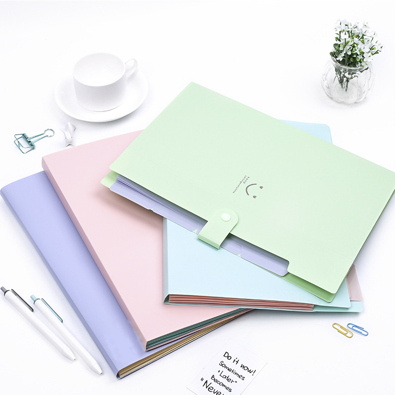 Cute Color A4 File Holder Document Organizer Ticket Holder Kawaii File Folders Korean Stationery Office School Supplies