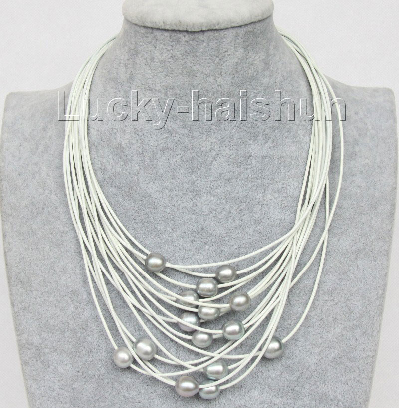 "17""-24"" 13mm 15row gray FW pearls white leather necklace j9652"