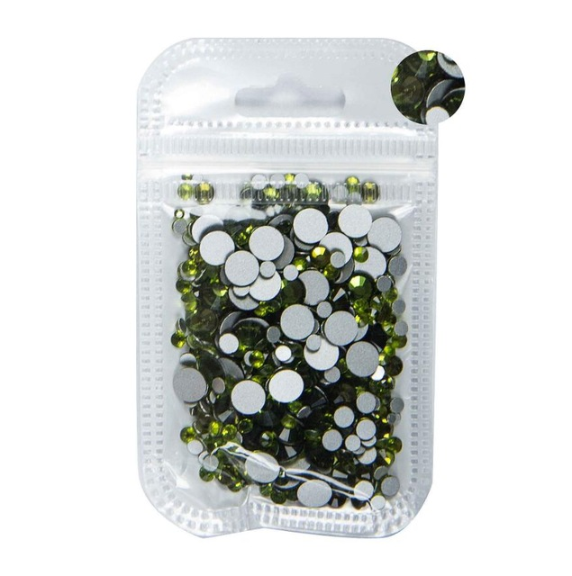 350 шт, 5 грамм, смешанные размеры, ss3-ss30, синий/зеленый/розовый/белый опал, 3D хрустальные стразы для дизайна ногтей, плоские с оборота стеклянные украшения для ногтей - Цвет: Olivine