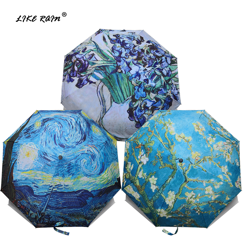 LIKE RAIN Brand Folding Umbrella Female Windproof Paraguas Van Gogh Oil Painting Umbrella Rain Women Quality UBY01