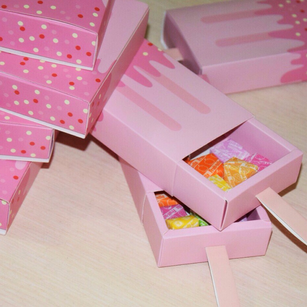 5pcs Candy Box Ice Cream Shape Gift Boxes Baby Shower Birthday Party ...