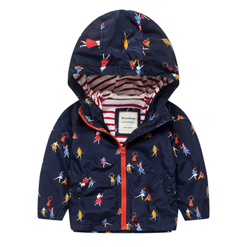 M13 Spring Autumn Fashion Boys Girl Blue Coat Hoodie Child Jacket Girl Tops Windbreaker Autumn Child Thin Coat Child Thin Jacket