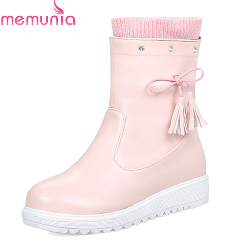 94a1e745bbde Chaude rose Chaussures Memunia Pu Antidérapant À Bout Bowknot L eau Neige  Chaud 2018 Rond Imperméable Plate forme Bottes ...