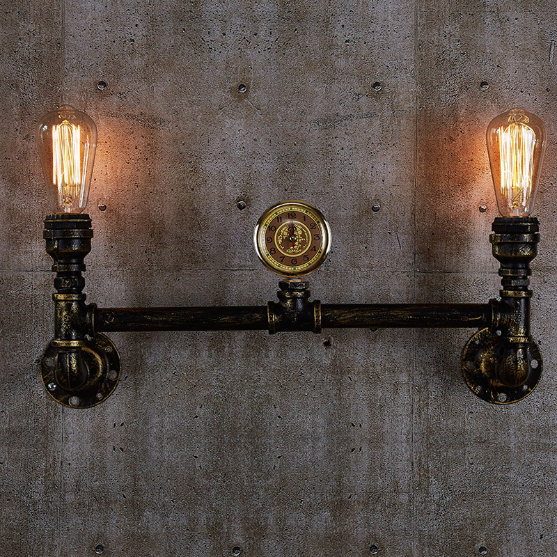 Aged steel pipe lighting Industrial water pipe lamps black or brass finished 110V/220V E27 2-arm iron edison chandelier free shipping to russia 10 arms iron socket lighting diy industrial black chandelier with edison bulb 220v or 110v decoration