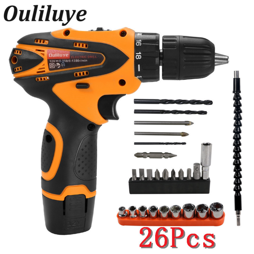 12V Electric Cordless Wireless Screwdriver Drill Lithium Battery Rechargeable Multi-function Household Electric Drill Power Tool цены