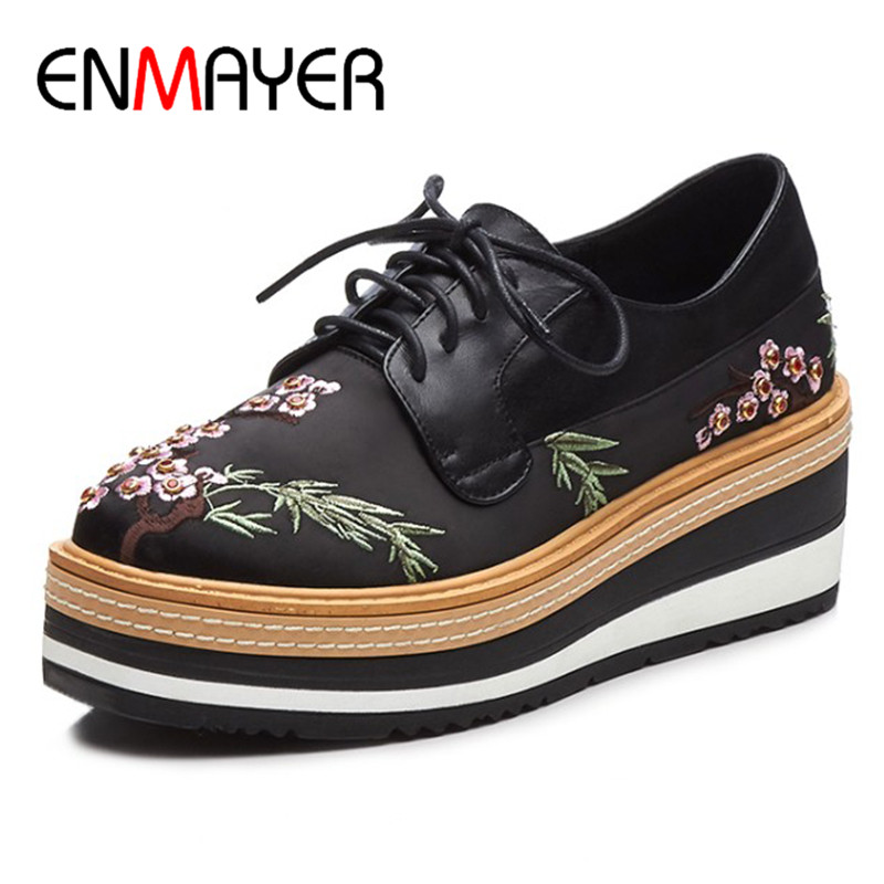 ENMAYER Cross-tied Lace-up Shoes Woman High Heels Wedges Shoes Genuine Leather Shoes Pumps Round Toe Platform Shoes xiaying smile woman pumps shoes women spring autumn wedges heels british style classics round toe lace up thick sole women shoes