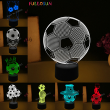 USB 3D Illusion Lamp Colorful LED Night Lights Football Soccer Atmosphere Novelty Lighting as World Cup Fans Gifts