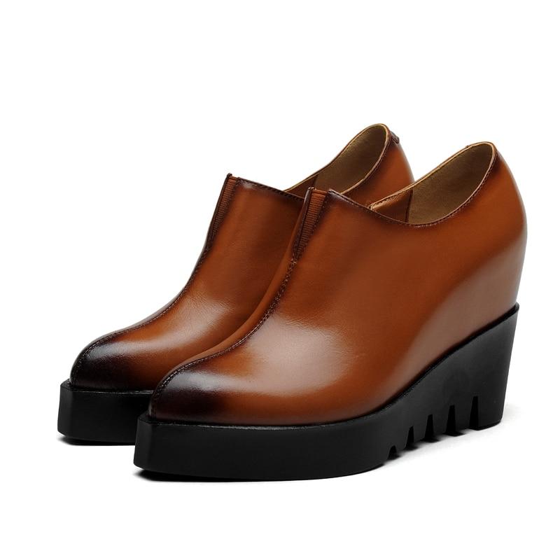 ФОТО British restoring ancient ways sexy pointed toe genuine leather pumps zipper elastic platform high heel increasing women's shoes