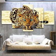 5 Панель Холст Искусство животное настенные картины для гостиной HD ползучий Леопардовый принт большой современный куадро декорацион настенный плакат