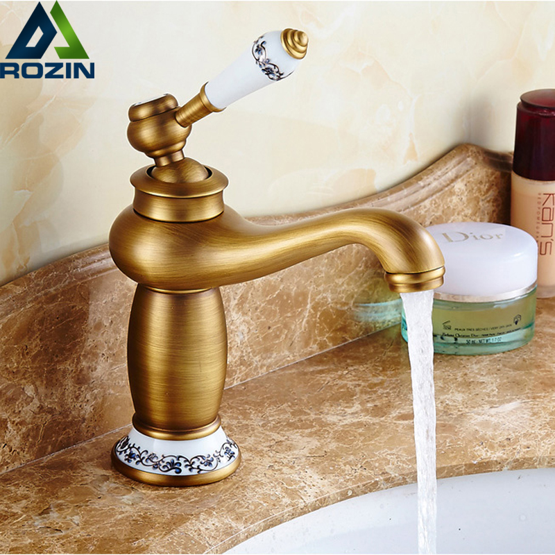 Antique Bathroom Vanity Sink Faucet Single Ceramic Handles Brass Hot and Cold Basin Mixer Copper Pop Up Drain free shipping new antique brass chinese dragon style bathroom basin waste pop up waste vanity vessel sink drain with overflow