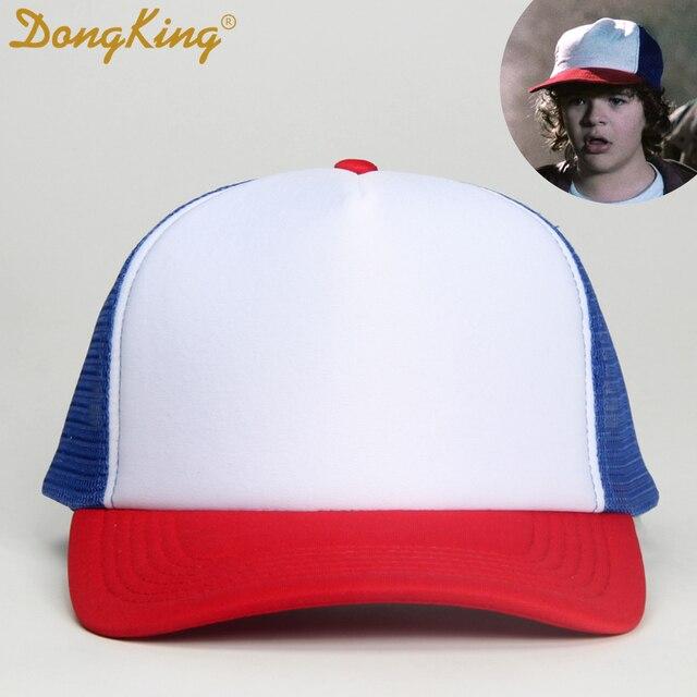 e0eae03b161b3 DongKing Stranger Things Dustin Cap Dustin Trucker RED WHITE BLUE Trucker  Hat Mesh Baseball Cap Snapback Funny Movie Gift