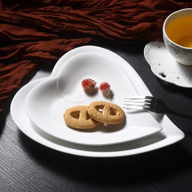 8 inch/10 inch сердце керамическая плита завтрак тарелку костяного фарфора блюда снэк-лоток