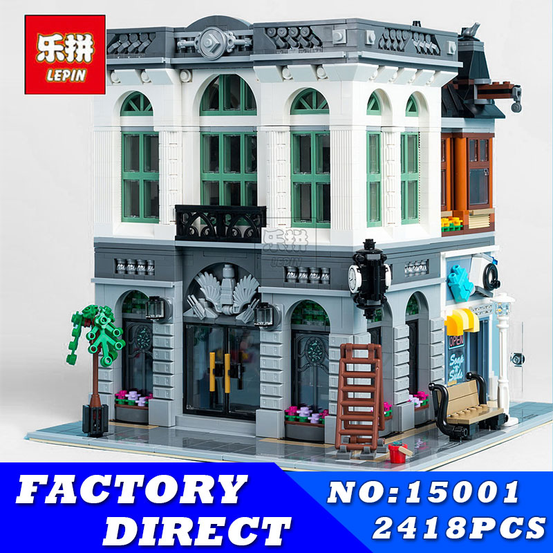 LEPIN 15001 2413Pcs Creator Brick Bank Model Educational Building Kits Blocks Bricks Toy for Children Gift Compatible With 10251 lepin 15018 3196pcs creator city series sunshine hotel model building kits brick toy compatible christmas gifts