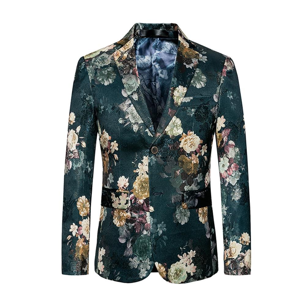 71e75f723a0 2018 Fashion Mens Printed Blazers Casual Slim Fit Prom Dress Blazer Male  Green Floral Stage Wear