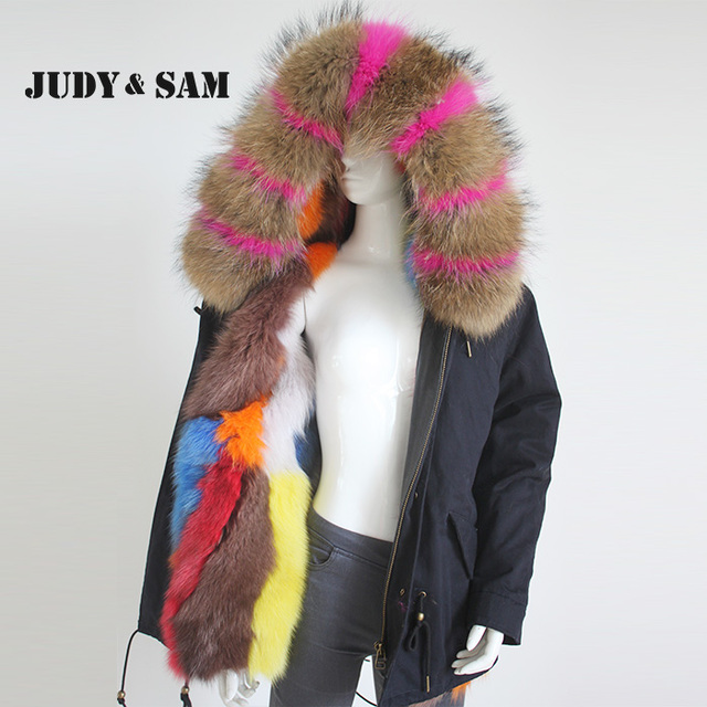 9cedf6ff7 Thick Raccoon Fur Collar Hood Trim Parka with Colorful Real Fox Fur ...