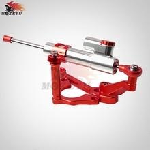 цена на Red CNC Aluminum Motorcycles steer damper Mounting Bracket Kit & Steering Stabilizer Damper For Kawasaki Z900 Z 900 2017 2018
