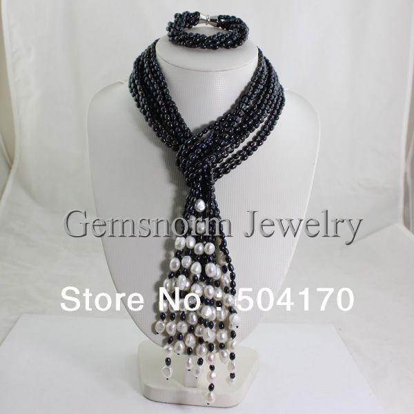 Charms Multistrands Knotted Pearl Jewelry Set Rare Black Rice Pearls Necklace/Bracelet Set Anniversary Jewelry FP230 недорого